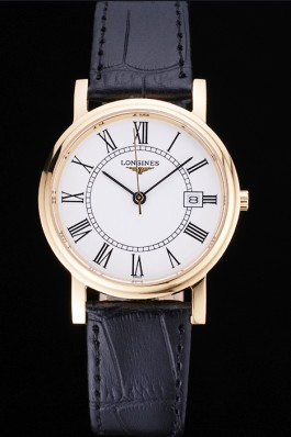 Longines La Grande Classique Round White Dial Gold Case Black Leather Band 622382 Replica Longines Classic