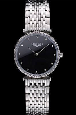 Longines La Grande Classique Stainless Steel Black Dial Diamond Bezel Homme 622107 Replica Longines Classic