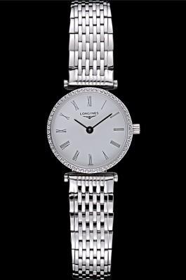 Longines La Grande Classique Stainless Steel White Dial Diamond Bezel Femme 622110 Replica Longines Classic