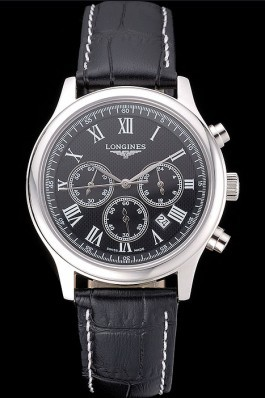 Longines Master Collection Black Leather Strap Black Dial 80224 Replica Longines