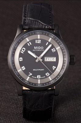Mido Multifort Black Croco Leather Strap Black-Silver Dial 80296 Mido Replica