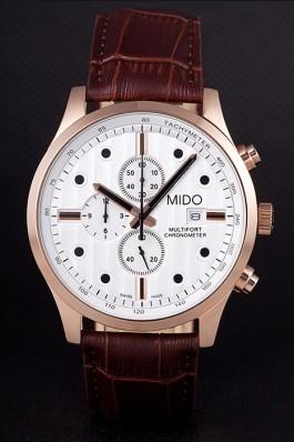 Mido Multifort Brown Croco Leather Strap White Dial 80287 Mido Replica