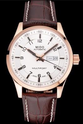 Mido Multifort Brown Croco Leather Strap White-Silver Dial 80300 Mido Replica
