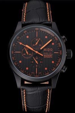 Mido Multifort Cronograph All Black & Orange Dial Black Leather Strap 622181 Mido Replica