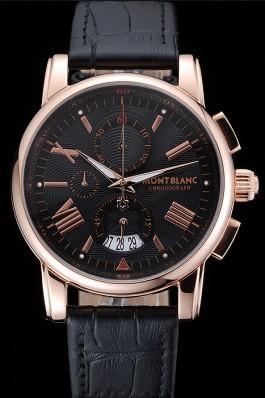 Montblanc Chronograph Black Dial Black Leather Bracelet Rose-Gold Case 1454110 Mont Blanc Watch Replica