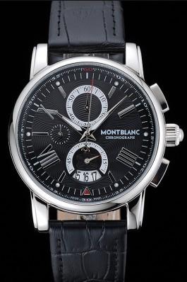 Montblanc Chronograph Black Dial Black Leather Bracelet Silver Case 1454111 Mont Blanc Watch Replica
