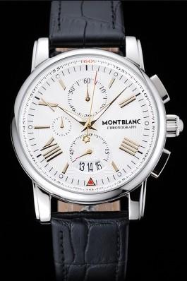 Montblanc Chronograph White Dial Black Leather Bracelet Silver Case 1454114 Mont Blanc Watch Replica