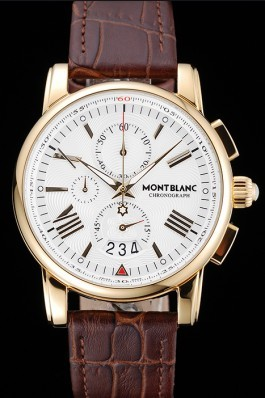 Montblanc Chronograph White Dial Brown Leather Bracelet Gold Case 1454113 Mont Blanc Watch Replica