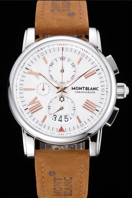 Montblanc Chronograph White Dial Brown Suede Leather Bracelet Silver Case 1454115 Mont Blanc Watch Replica