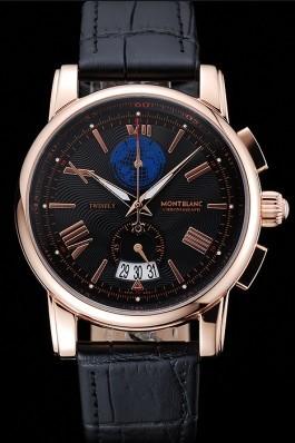 Montblanc Twinfly Chronograph Black Dial Black Leather Bracelet 1454118 Mont Blanc Watch Replica