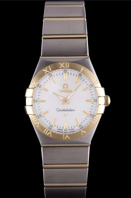 Omega Constellation White Dial Two Tone Band som90 621470 Best Omega Replica