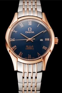 Omega De Ville Blue Dial Rose Gold Case Two Tone Bracelet 1453783 Omega Replica Watch