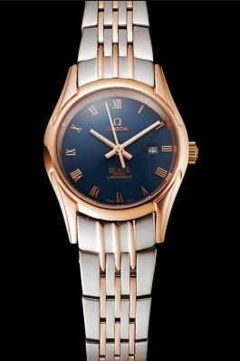 Omega De Ville Ladies Blue Dial Rose Gold Case Two Tone Bracelet 1453784 Omega Replica Watch