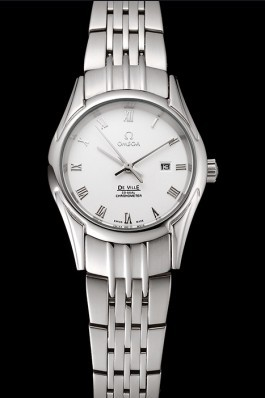 Omega De Ville Ladies White Dial Roman Numerals Stainless Steel Case And Bracelet 1453792 Omega Replica Watch