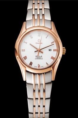 Omega De Ville Ladies White Dial Rose Gold Case Two Tone Bracelet 1453782 Omega Replica Watch