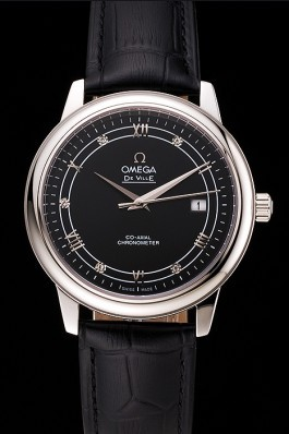Omega De Ville Prestige Black Dial Stainless Steel Case Black Leather Strap Omega Replica Watch