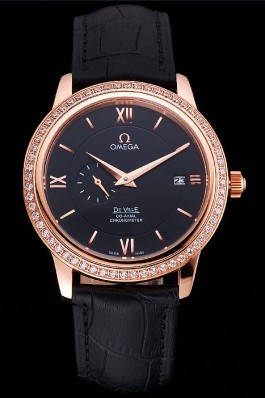 Omega De Ville Prestige Co-Axial Black Dial Rose Gold Diamond Case Black Leather Strap Roman Numeral Omega Replica Watch