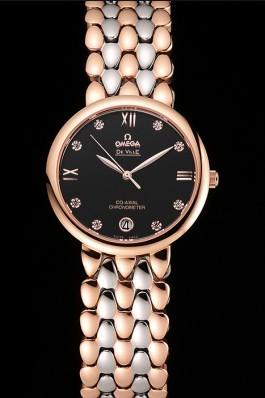 Omega De Ville Prestige Dark Grey Dial With Diamonds Rose Gold Case Two Tone Bracelet Omega Replica Watch