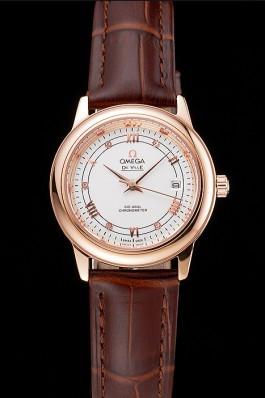 Omega De Ville Prestige Ladies White Dial Rose Gold Case Brown Leather Strap  Omega Replica Watch