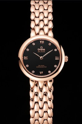 Omega De Ville Prestige No Date Black Dial With Diamonds Rose Gold Case And Bracelet Omega Replica Watch