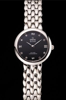 Omega De Ville Prestige No Date Dark Grey Dial With Diamonds Stainless Steel Case And Bracelet Omega Replica Watch