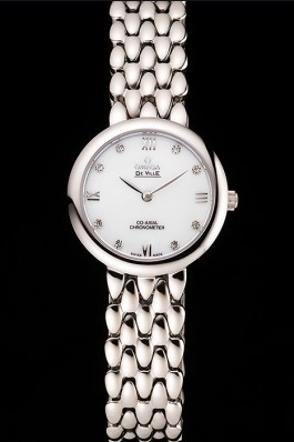 Omega De Ville Prestige No Date White Dial With Diamonds Stainless Steel Case And Bracelet Omega Replica Watch