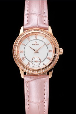 Omega De Ville Prestige Small Seconds White Dial Diamond Bezel Rose Gold Case Pink Leather Strap Omega Replica Watch