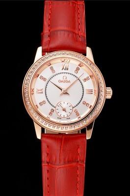 Omega De Ville Prestige Small Seconds White Dial Diamond Bezel Rose Gold Case Red Leather Strap Omega Replica Watch