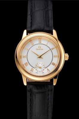 Omega De Ville Prestige Small Seconds White Dial Gold Case Black Leather Strap Omega Replica Watch