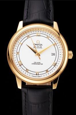Omega De Ville Prestige White Dial Gold Case Black Leather Strap Omega Replica Watch