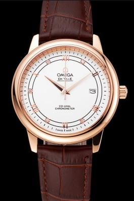 Omega De Ville Prestige White Dial Rose Gold Case Brown Leather Strap Omega Replica Watch