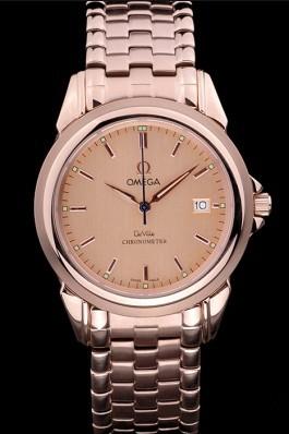 Omega De Ville Rose Gold Dial Rose Gold Stainless Steel Bracelet 1454188 Omega Replica Watch