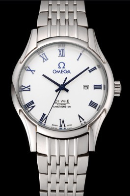 Omega De Ville White Dial Blue Numerals Stainless Steel Case And Bracelet 1453787 Omega Replica Watch