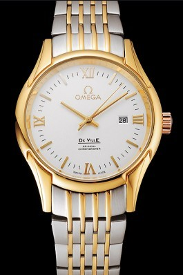 Omega De Ville White Dial Gold Case Two Tone Bracelet 1453785 Omega Replica Watch