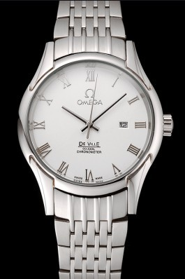 Omega De Ville White Dial Roman Numerals Stainless Steel Case And Bracelet 1453791 Omega Replica Watch