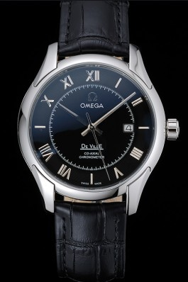 Omega DeVille Black Dial Stainless Steel Case Black Leather Strap 622829 Omega Replica Watch