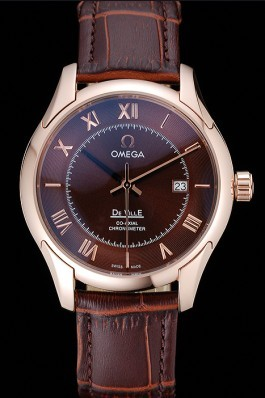 Omega DeVille Brown Dial Gold Case Brown Leather Strap 622831 Omega Replica Watch