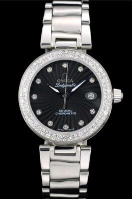 Omega DeVille Ladymatic iamond Plated Bezel Black Dial Omega Replica Watch
