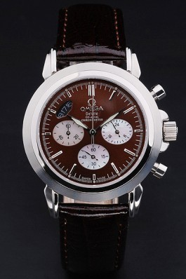 Brown Leather Band Top Quality Patent Snake Leather Men's Omega Deville Luxury Watch 4668 Omega Replica Watch
