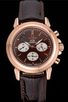 Brown Leather Band Top Quality Patent Snake Leather Rose Gold Men's Omega Deville Luxury Watch 4669 Omega Replica Watch