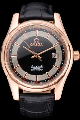 Omega DeVille Black Crocodile Leather Bracelet Black Dial Watch Omega Replica Watch