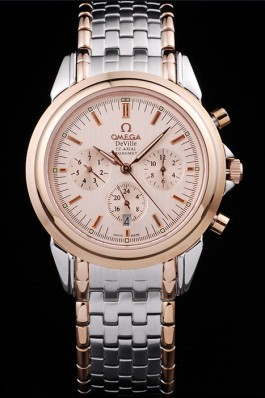 Gold Stainless Steel Band Top Quality Men's Omega DeVille Luxury Watch 4730 Omega Replica Watch