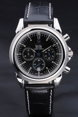 Black Leather Band Top Quality Black Men's Omega Deville Luxury Watch 4747 Omega Replica Watch