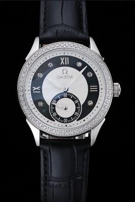 Omega DeVille Prestige Black Dial Silver Diamond Case Black Leather Bracelet 1454120 Omega Replica Watch