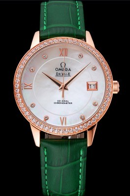 Omega DeVille Prestige Co-Axial Diamond Gold Case Mother-Of-Pearl Dial Green Leather Strap  Omega Replica Watch