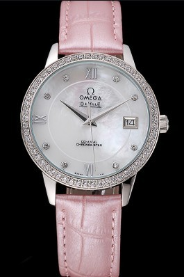 Omega DeVille Prestige Co-Axial Diamond Silver Case Mother-Of-Pearl Dial Pink Leather Strap  Omega Replica Watch