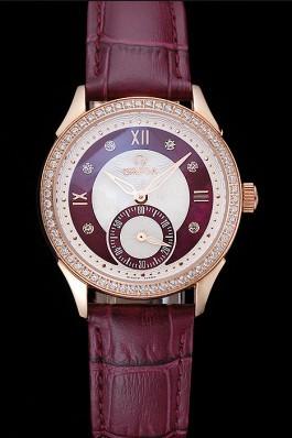 Omega DeVille Prestige Dark Red Dial Gold Diamond Case Dark Red Leather Bracelet 1454125 Omega Replica Watch