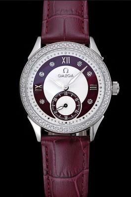 Omega DeVille Prestige Dark Red Dial Silver Diamond Case Dark Red Leather Bracelet 1454121 Omega Replica Watch