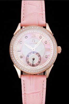 Omega DeVille Prestige Pink Dial Gold Diamond Case Pink Leather Bracelet 1454126 Omega Replica Watch