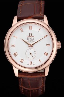 Omega DeVille Prestige Small Seconds White Dial Gold Case Brown Leather Bracelet 622603 Omega Replica Watch